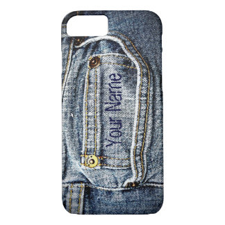 Blue Jean Denim Pocket - Add your name or initials iPhone 7 Case