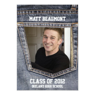 Blue Jean Pocket Photo Graduation Card