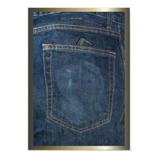 Blue Jeans Denim Pocket 13 Cm X 18 Cm Invitation Card