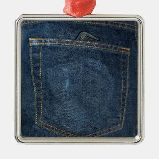Blue Jeans Denim Pocket Silver-Colored Square Decoration