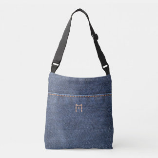Blue jeans denim style, denim jeans photo monogram crossbody bag
