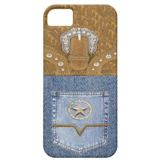 """""""Blue Jeans & Leather"""" Western IPhone 5 Case"""