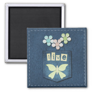 Blue Jeans Live Floral Butterfly Magnet