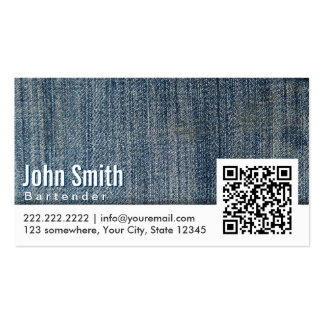 Blue Jeans QR Code Bartender Business Card