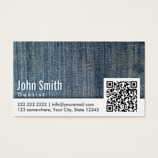 Blue Jeans QR Code Dentist Business Card
