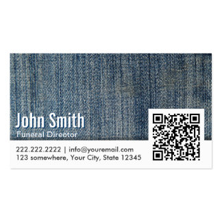 Blue Jeans QR Code Funeral Business Card