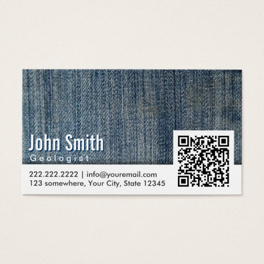 Blue Jeans QR Code Geologist Business Card