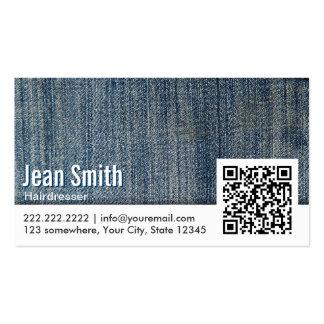 Blue Jeans QR Code Hairdresser Business Card