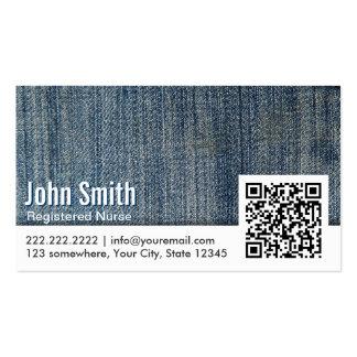 Blue Jeans QR Code Nurse Business Card