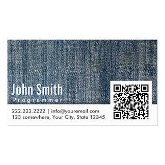 Blue Jeans QR Code Programmer Business Card