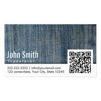 Blue Jeans QR Code Translator Business Card