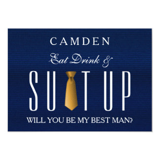 Blue Jeans Textile Suitup Will you be my Bestman Card