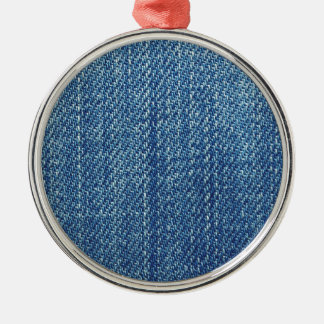 Blue jeans texture christmas ornament