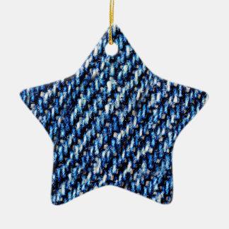 Blue jeans texture christmas ornament