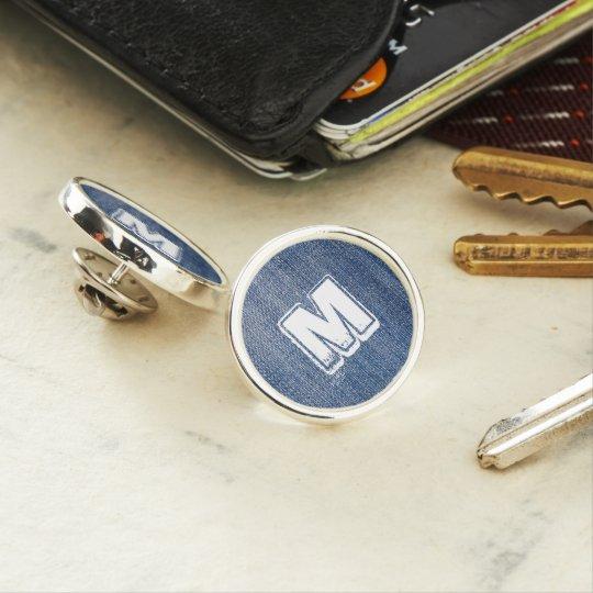Blue Jeans White Monogram Name Personalised Lapel Pin
