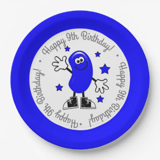Blue Jelly Bean Birthday Party Paper Plate