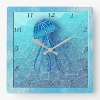 BLUE JELLYFISH 124 MOSAIC OCEAN CLOCK