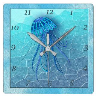 BLUE JELLYFISH 124 MOSAIC OCEAN SQUARE WALL CLOCK