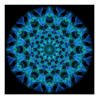 Blue Jellyfish Kaleidoscope Poster