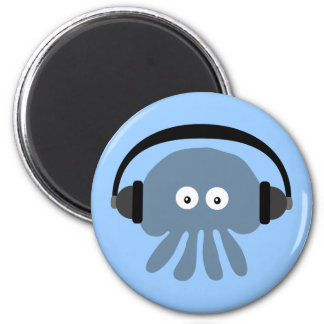 Blue jellyfish with headphones magnet