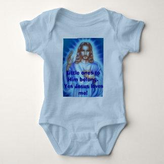 Blue Jesus picture, Little ones to Him belong. ... Baby Bodysuit