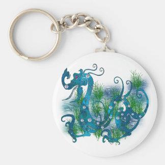 Blue Jeweled Dragon Basic Round Button Key Ring