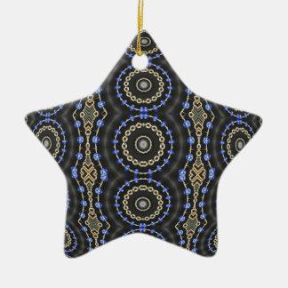 Blue Jeweled Rings Kaleidoscope Mandala Ceramic Star Decoration