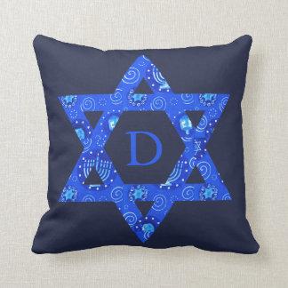 Blue Jewish Star of David Boy's Room Monogrammed Cushion