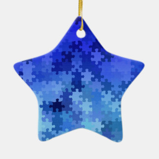 Blue jigsaw puzzle pattern christmas ornament