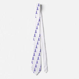 Blue Jigsaw Puzzle Pattern Ribbon Tie