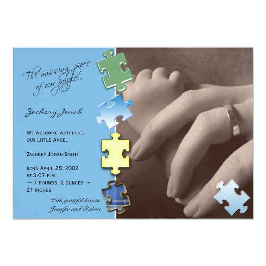 Blue Jigsaw Puzzle Photo Baby Announcement