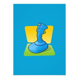 Blue Joystick 14 Cm X 19 Cm Invitation Card