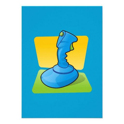 Blue Joystick Personalized Invitations