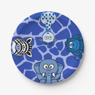 Blue jungle safari animal boy baby shower birthday paper plate