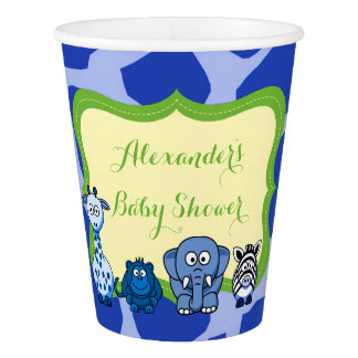 Blue jungle safari animal boy baby shower paper cup