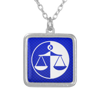 Blue Justice Scales Silver Plated Necklace
