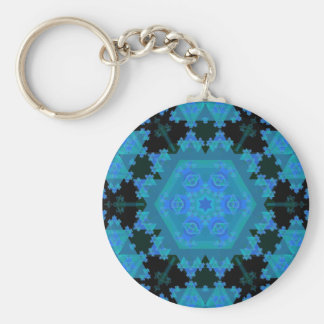 Blue Kaleidoscope: Abstract Art: Basic Round Button Key Ring