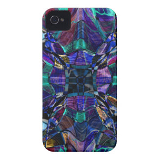 Blue Kaleidoscope Fractal iPhone 4 Cases