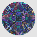 Blue Kaleidoscope Fractal Round Stickers