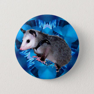 Blue Kaleidoscope Possum 6 Cm Round Badge