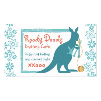 Blue kangaroo knitting needles ball of yarn business card templates