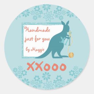 Blue kangaroo knitting needles ball of yarn sticker