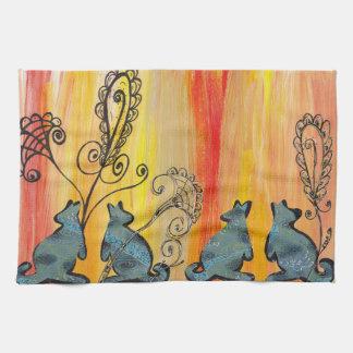 Blue Kangaroos Tea Towel