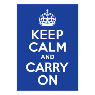 Blue Keep Calm and Carry On Large Business Cards (Pack Of 100)