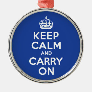 Blue Keep Calm and Carry On Christmas Ornament