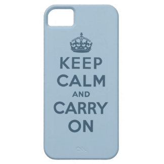 Blue Keep Calm And Carry On iPhone 5 Cover