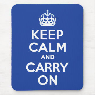 Blue Keep Calm and Carry On Mouse Mat