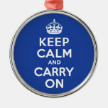 Blue Keep Calm and Carry On Ornament