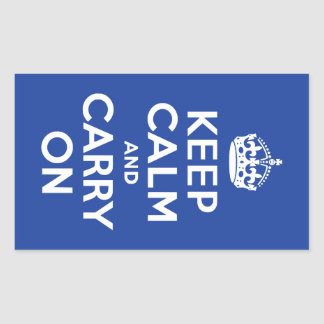 Blue Keep Calm and Carry On Rectangular Sticker
