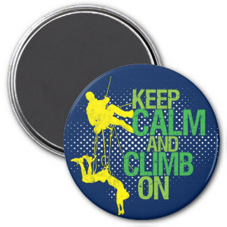 Blue Keep Calm and Climb On Rock Climbing Magnet